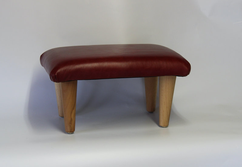 Mini Leather Footstool -Crimson Semi Aniline Leather -  Small Pouffe