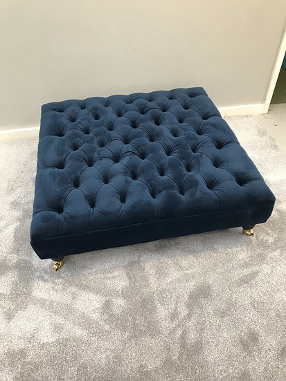 Extra Large Chesterfield Footstool -  Plush Velvet Navy Ottoman