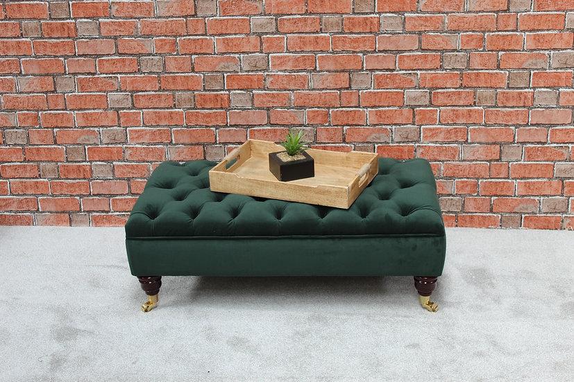 Large Chesterfield  Footstool -  Plush Velvet Hunter- Coffee Table -Pouffe