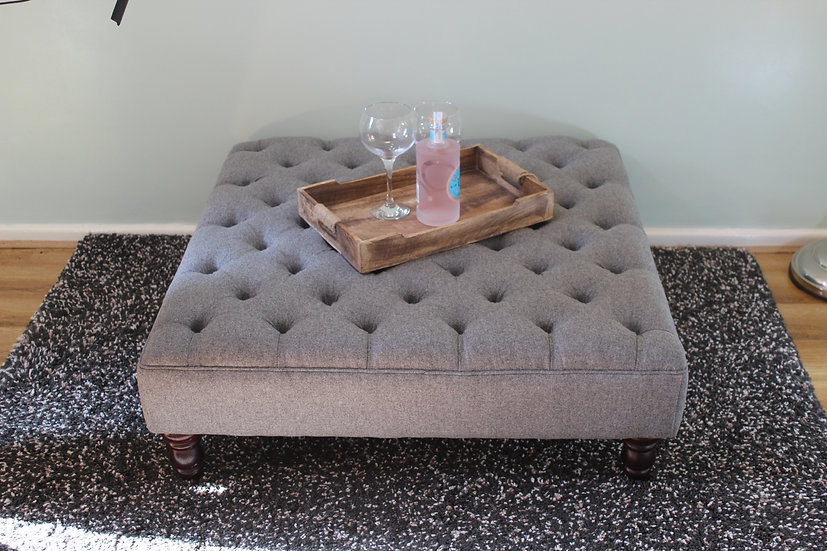 Extra Large Chesterfield Footstool -Xanthe Wool Shadow Ottoman