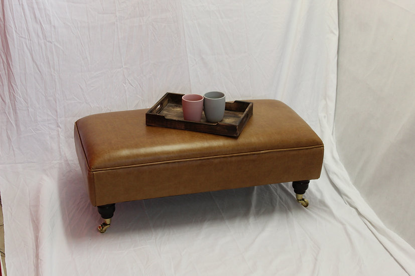 Large Flat Top Leather Footstool - Pull Up Tan Upholstered Coffee Table