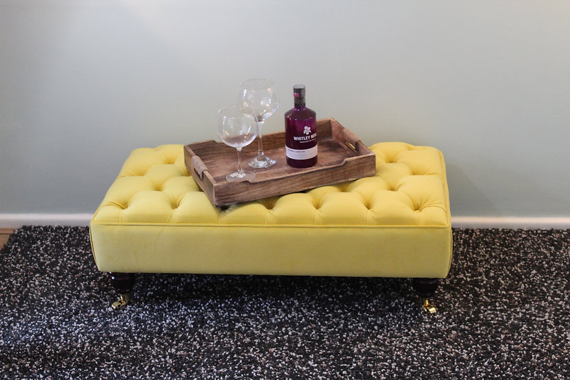 Large Chesterfield Daffodil Footstool -  Plush Velvet -Yellow - Coffee Table