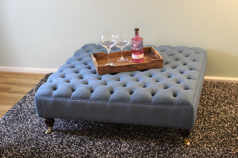 Extra Large Chesterfield Footstool - Amatheon Cerulean Ottoman
