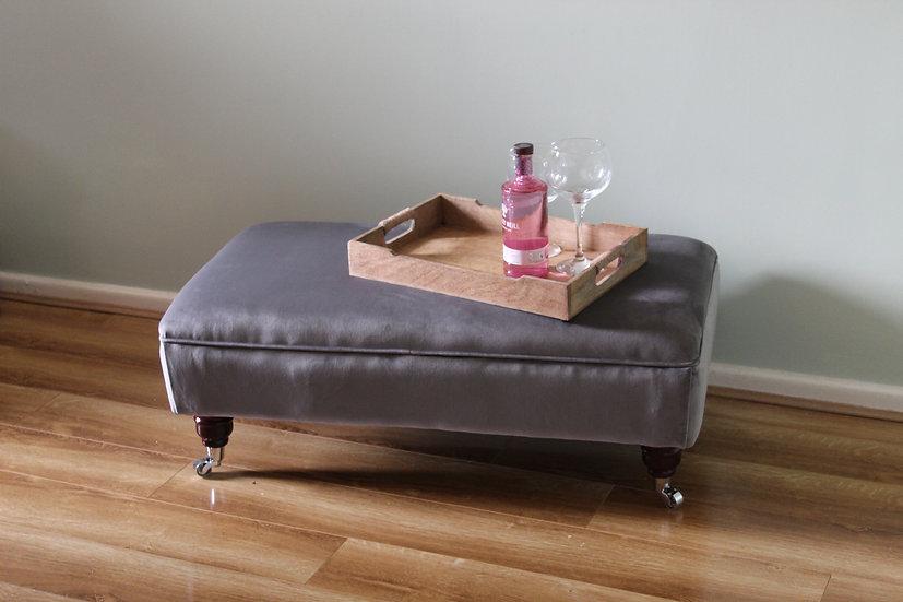 Large Flat Top Footstool -  Plush Velvet Steel - Coffee Table -Pouffe