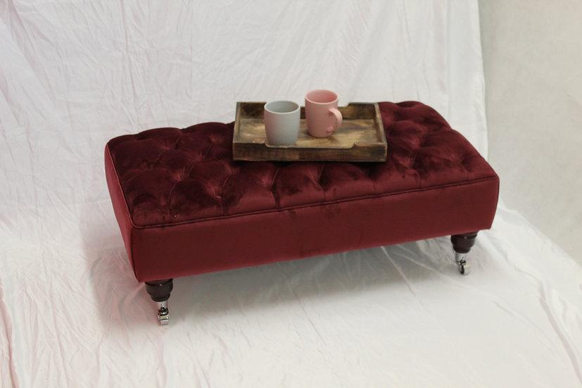 Large Chesterfield Footstool -  Plush Velvet Burgundy - Coffee Table
