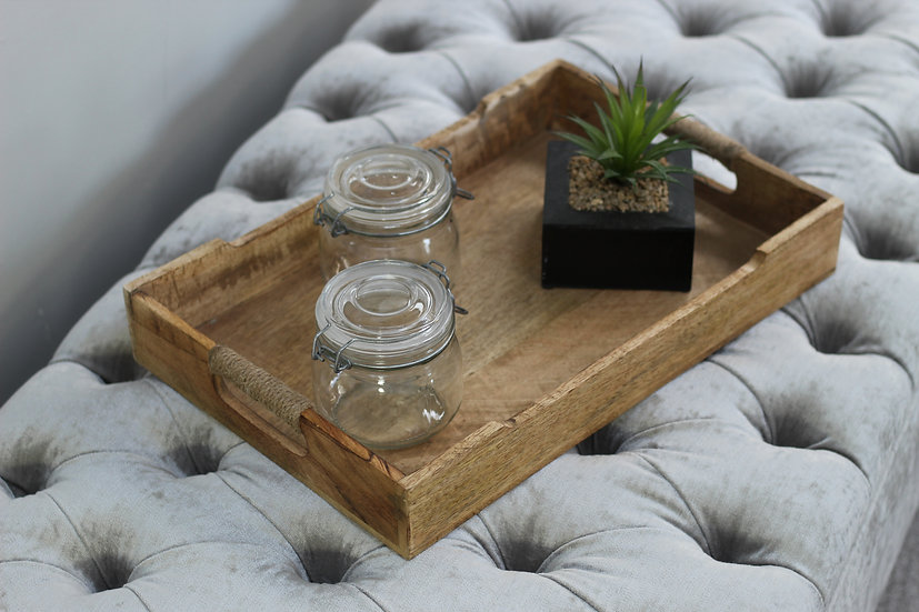 Mango Wood Occasional Serving Tray - Wooden Decoration
