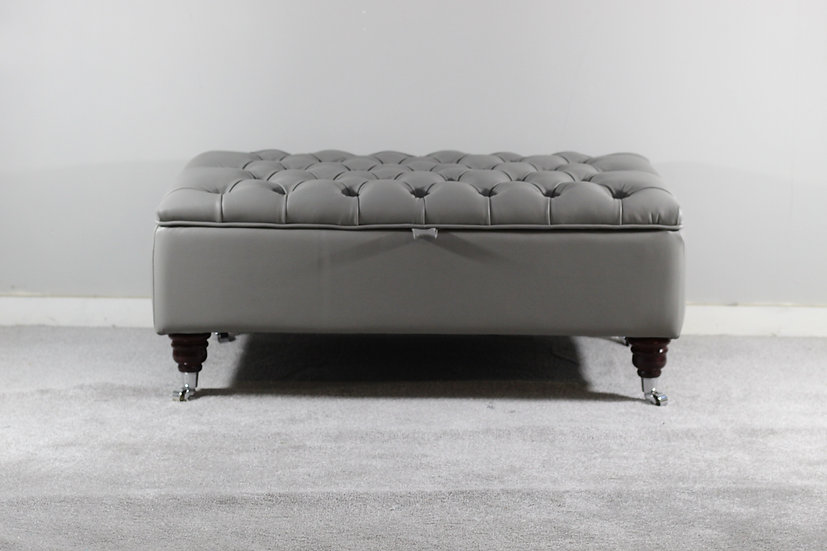 Large Chesterfield Storage Ottoman- Fossil Grey Leather