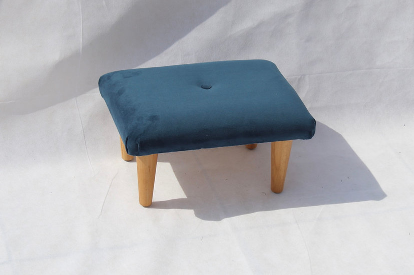 Teal Velvet Footstool - Small Stool- Foot Rest