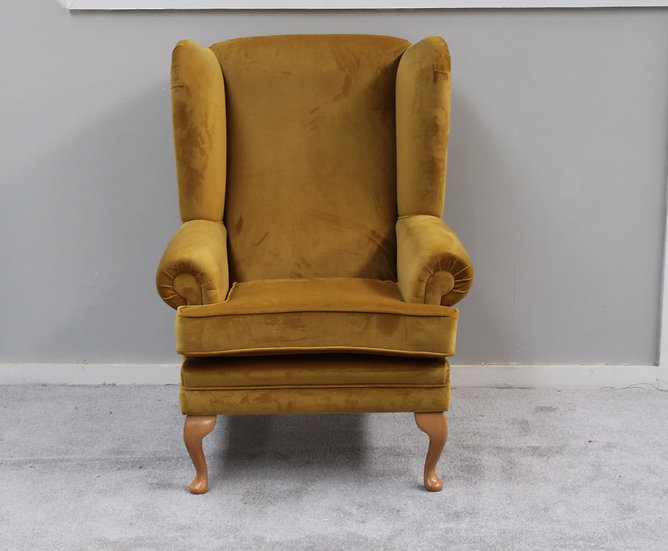 Turmeric Velvet Wing Chair - Fireside Arm Chair - High backed Reading Chair