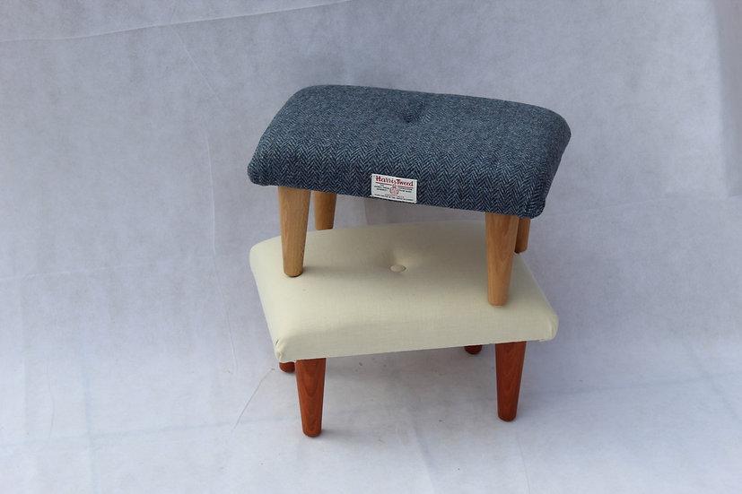 Chambray Cashew Linen Footstool - Small Stool
