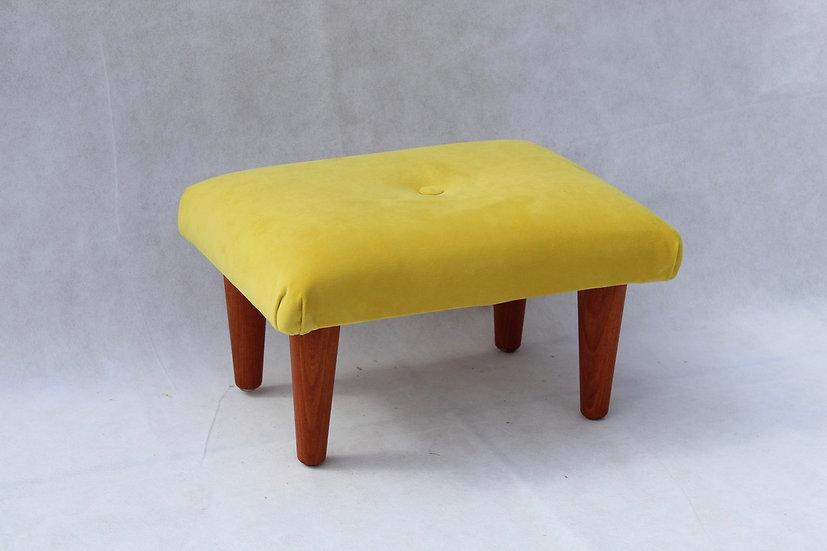 Daffodil Yellow Velvet Footstool - Small Stool