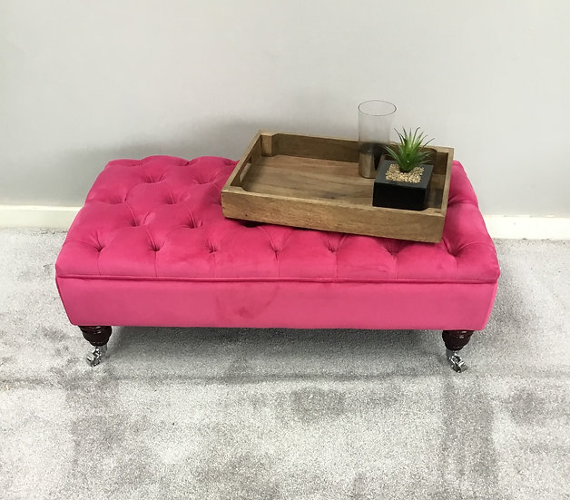 Large Chesterfield Footstool -  Plush Velvet Peony Pink - Coffee Table