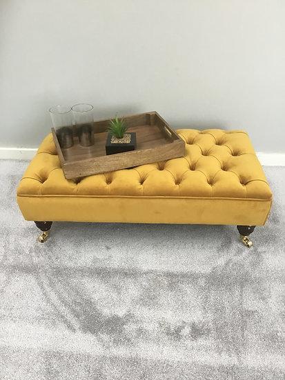 Large Chesterfield Footstool Footstool - Plush Velvet Tumeric - Coffee Table