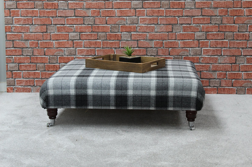 Tartan Footstool Bespoke Coffee Table  Pouffe - Extra Large Ottoman Stool