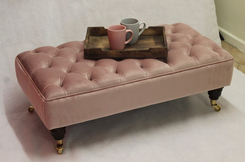 Large Chesterfield Footstool -  Plush Velvet Blush Pink - Coffee Table
