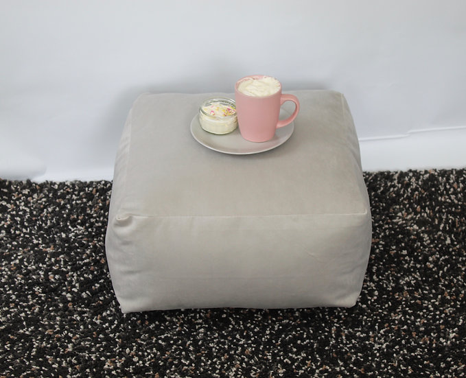 Silver Floor Cushion - Velvet Square Cushion - Bean Bag Seat