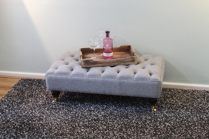 Large Chesterfield  Footstool -  Xanthe Ghost Fabric- Coffee Table -Pouf