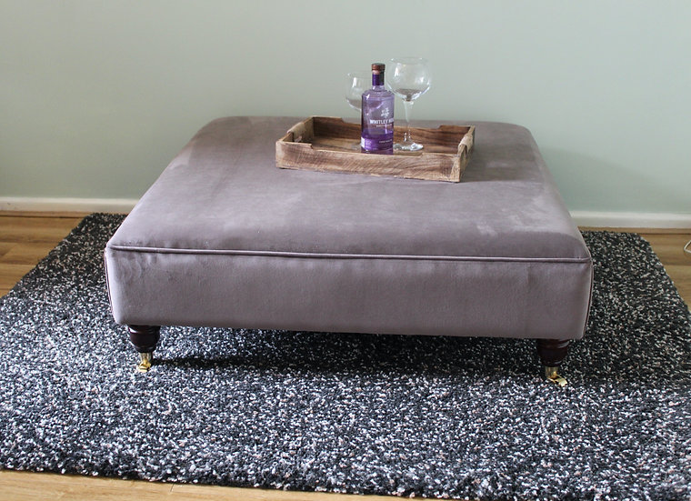 Extra Large Flat Top Footstool -  Plush Velvet Mole Ottoman - Coffee table