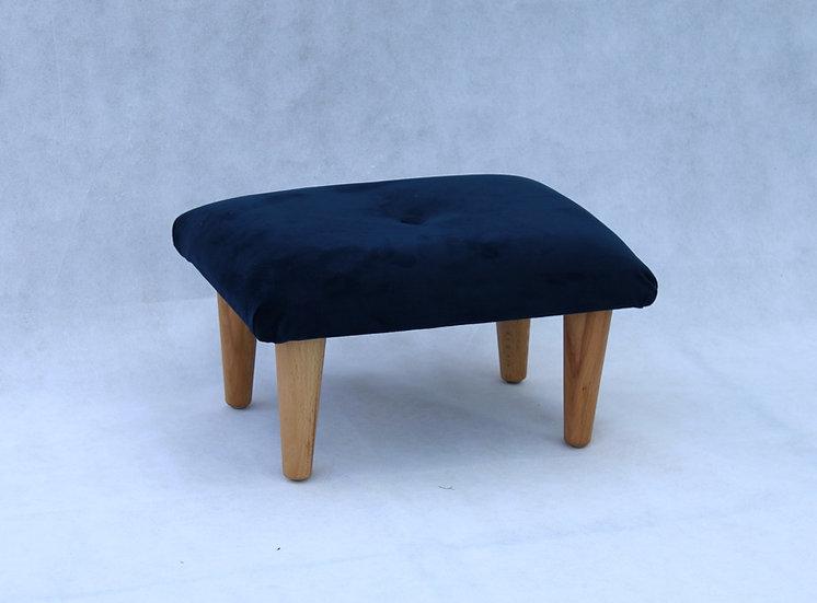 Indigo Navy Velvet Footstool - Small Stool- Foot Rest