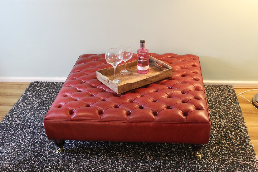Extra Large Deep Buttoned Leather Footstool - Crimson Upholstered Coffee Table