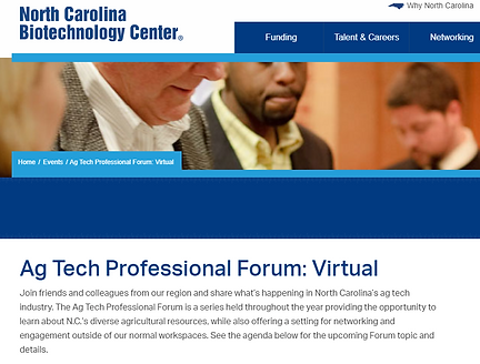 NC Biotech Center Ag Tech Forum Sponsor