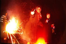 Andy, Jean, Hazel -- Bonfire night circa 1960