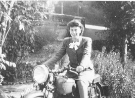 Jean on motorcycle (Andy comes by it honestly)