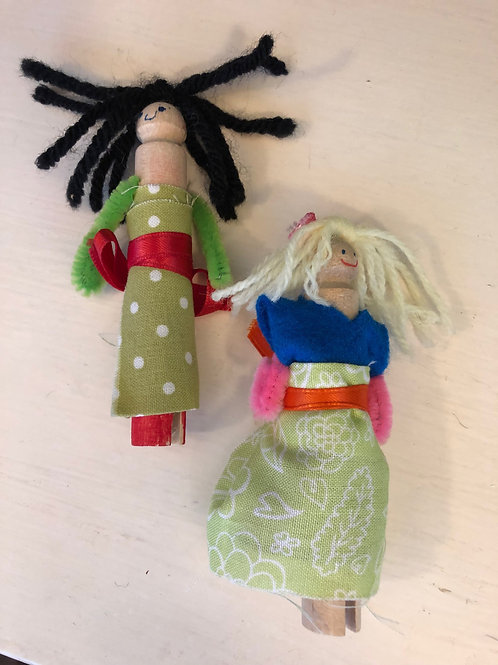 Ship-to-you DIY Craft Kit:  Clothespin Dolls