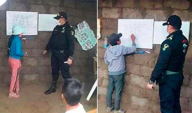 Policías enseñan matemáticas a niños de lejana comunidad en Apurímac