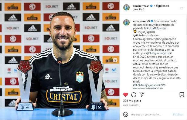 Emanuel Herrera agradeció en sus redes sociales a Sporting Cristal por su gran año 2020