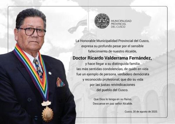 Cusco: Declaran tres días de duelo tras muerte del alcalde Ricardo Valderrama