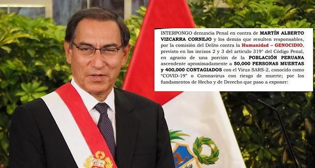 Denuncian a Martín Vizcarra por genocidio debido a muertes por la Covid-19
