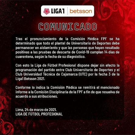 Suspenden el partido de Universitario vs UTC por casos de coronavirus