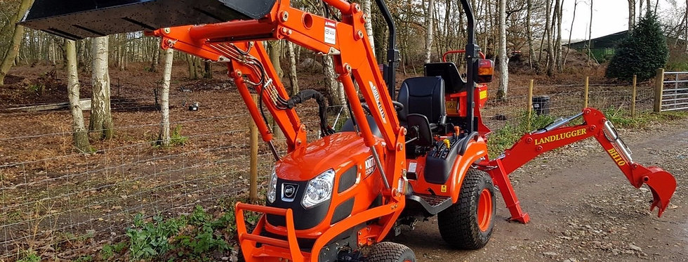 Kioti Compact Tractor CS2510 HST & Quick Release Front Loader & Back Hoe Digger