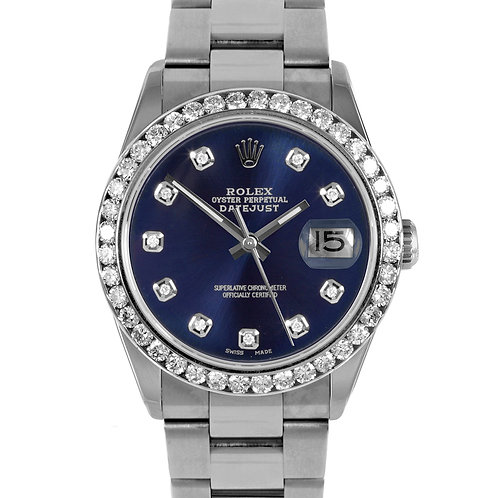 ROLEX DATEJUST 36MM W/ AMAZING CUSTOM DIAMOND DIAL