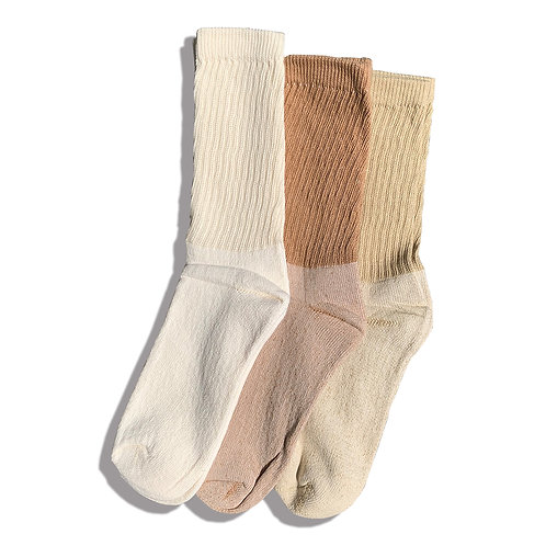 ORGANIC THREADS 3PACK ORGANIC REGURAR CREW SOCKS / MIX TYPE