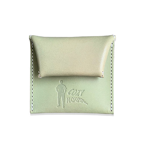 COZYHOUSETOKYO VEGETABLE TANNED LEATHER COIN CASE MINT/WHITE