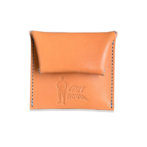COZYHOUSETOKYO VEGETABLE TANNED LEATHER COIN CASE TAN/Lt.BLUE