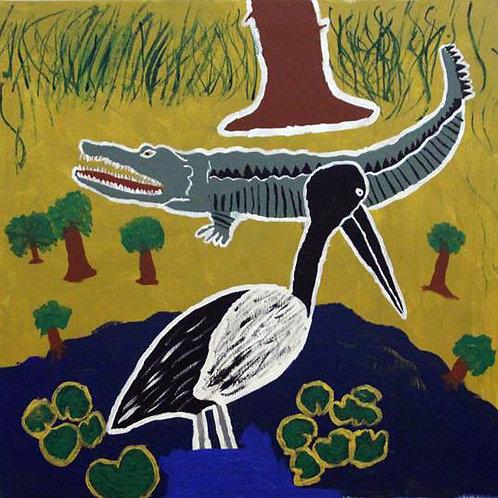 Croc on land, bird in water