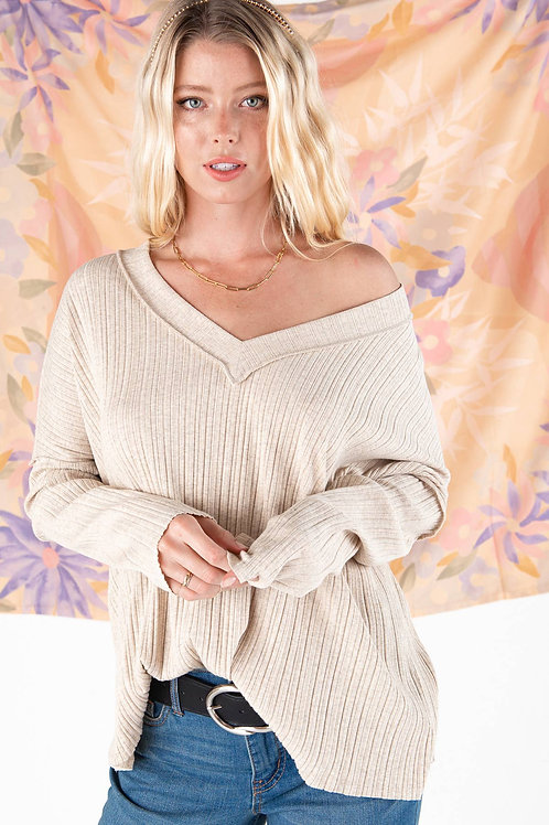 Oatmeal Ribbed Top