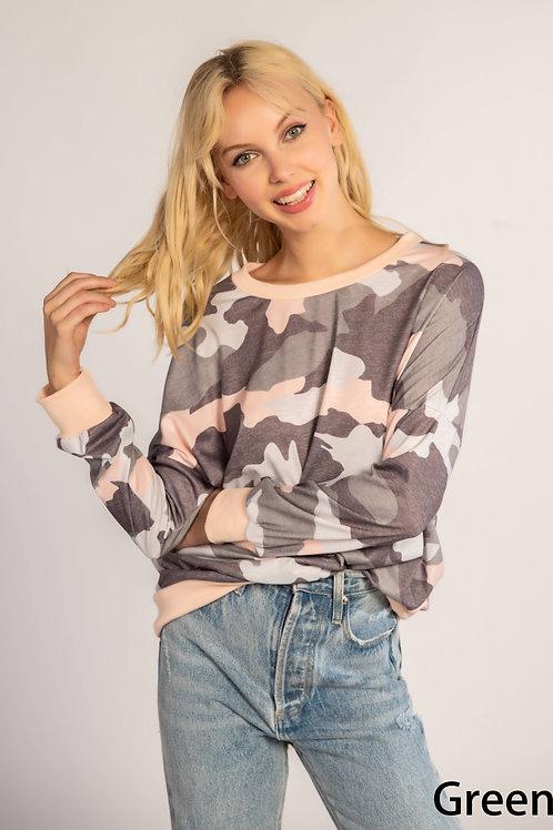 Long Sleeve Camo Sweater Blouse