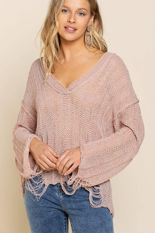 Dusty Pink Distressed Sweater