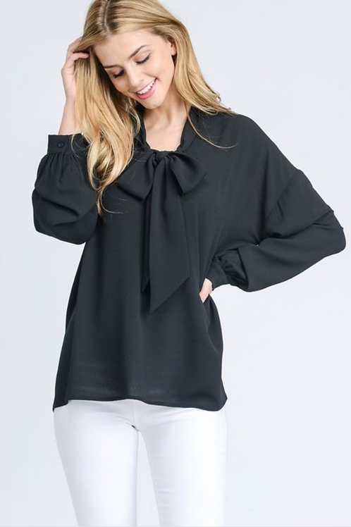 SELF-TIE FRONT WOVEN BLOUSE