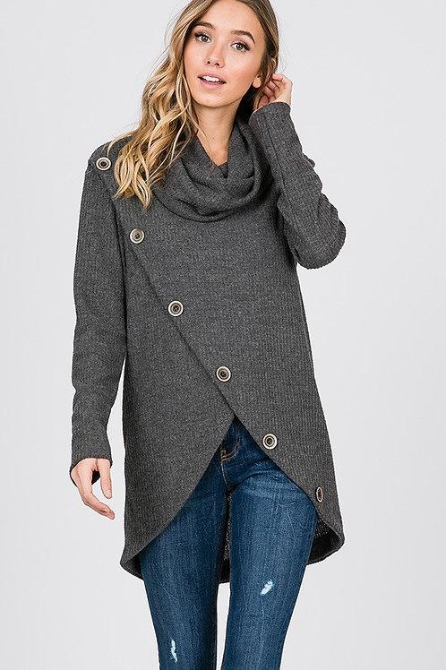 Button Turtle Neck Sweater
