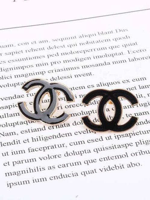 Black Enamel Stud Earrings