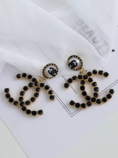 Lia  Black Swarovski Statement Earrings