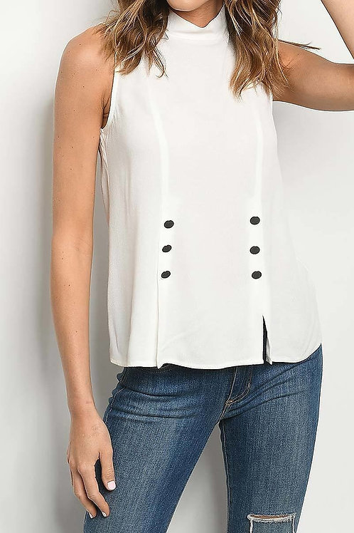 Mock Neck Button Blouse