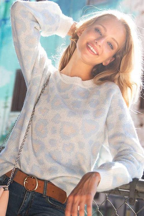 Blue Leopard Sweater