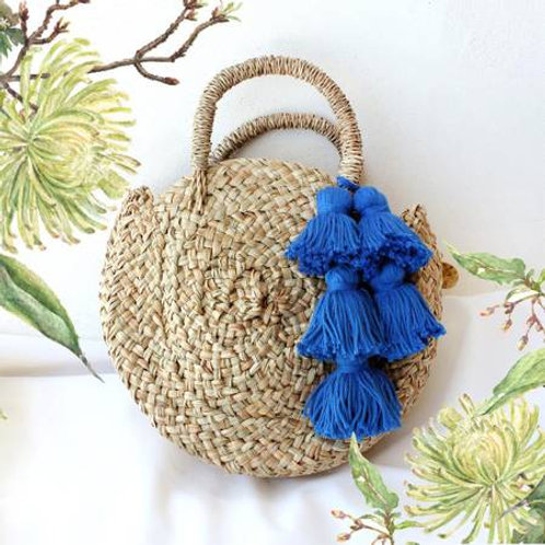 Woven Straw Bag Royal Blue Tassel