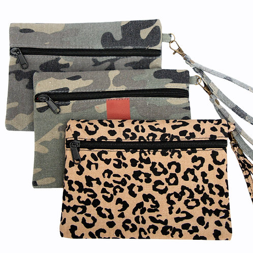 Canvas Clutch and Wristlet